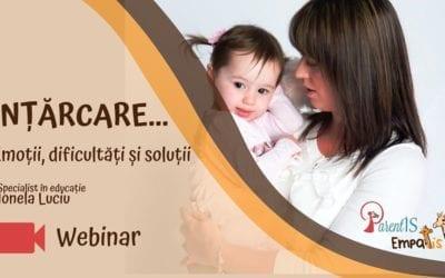 Înțărcare – webinar pentru părinți – 3 aprilie 2020